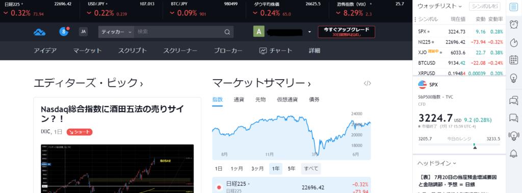 TradingViewホームページ